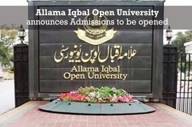 Allama Iqbal Open University announces Admissions to be opened